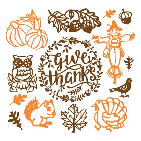 各種ヴィンテージ感謝祭のベクトル イラスト秋トルコ、かかし、カボチャなど設定用紙カットのデザイン要素です。