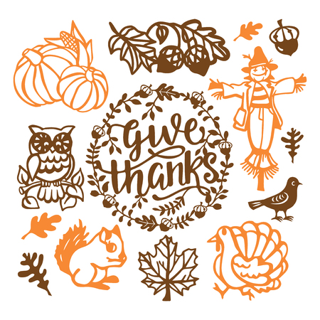 A vector illustration of assorted vintage thanksgiving fall paper cut design elements set like turkey, scarecrow, pumpkins and more. Illustration