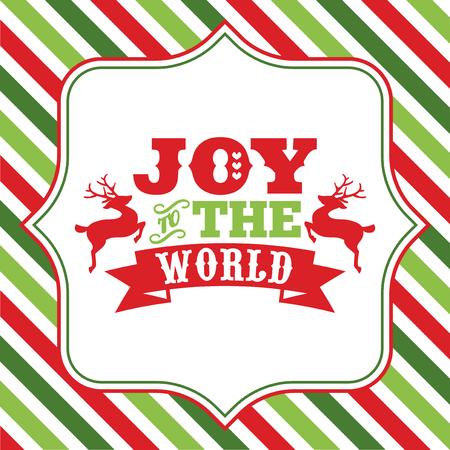 カラフルなクリスマスのテーマに対して派手なフレームに世界フレーズ喜びにクリスマス ワード ・ アートのベクトル図は、背景をストライプ化さ