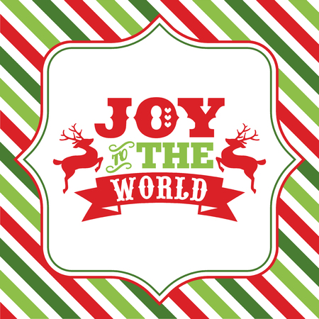 A vector illustration of christmas word art with joy to the world phrase on a fancy frame against a colorful Christmas theme striped background.