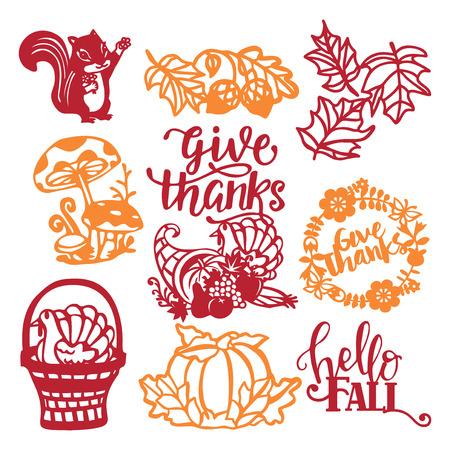 Een vector illustratie van geassorteerde vintage thanksgiving oogst papier gesneden design elementen set.