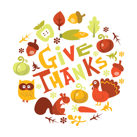 A vector illustration of retro harvest happy thanksgiving phrase. Çizim