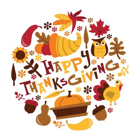 レトロな秋収穫幸せな感謝祭フレーズの宝庫のベクトル イラスト、秋の葉、トルコなど。  イラスト・ベクター素材