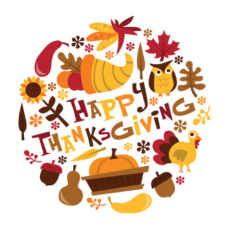 A vector illustration of retro fall harvest happy thanksgiving phrase with cornucopia, fall leaves, turkey and more.