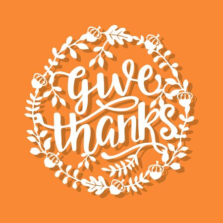 A vector illustration of thanksgiving fall wreath give thanks phrase paper cut.