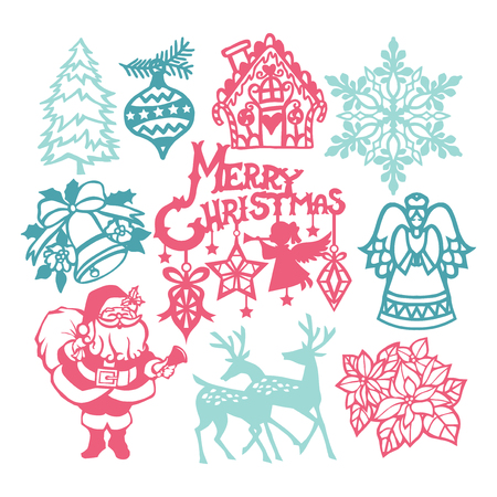 A vector illustration of assorted vintage christmas winter paper cut design elements.