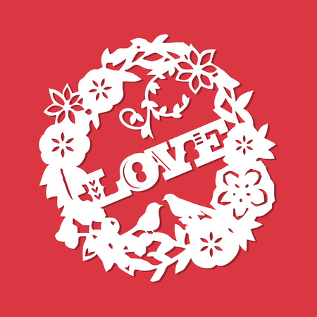 A vector illustration of a vintage paper cut silhouette love in floral wreath. Çizim