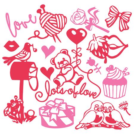 テディベア、愛の鳥やロマンチックな贈り物のようなセットの様々な紙カットシルエットかわいい甘い愛のセットのベクトルイラスト。  イラスト・ベクター素材
