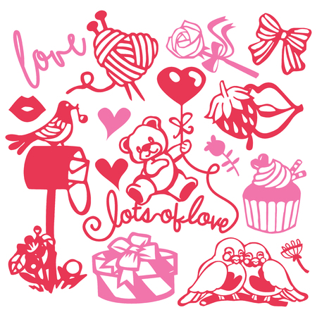 A vector illustration of assorted paper cut silhouette cute sweet love inspired set like teddy bears, love birds and romantic gifts. Çizim