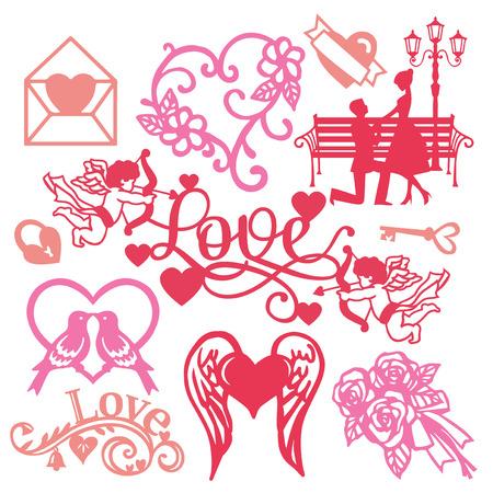 Een vectorillustratie van geassorteerde papier gesneden silhouet vintage romantiek set als paar in liefde, cupido's en bloemen geschenken. Stock Illustratie