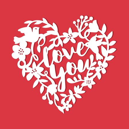A vector illustration of a vintage paper cut silhouette love story floral wreath. Çizim