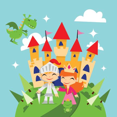 A cute cartoon vector illustration of retro magical fairytale kingdom with knight, princess, dragon and a castle. Standard-Bild - 105027477