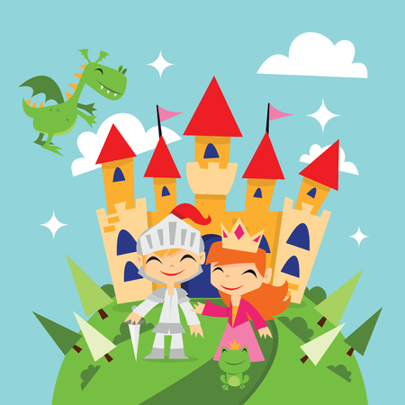 A cute cartoon vector illustration of retro magical fairytale kingdom with knight, princess, dragon and a castle.