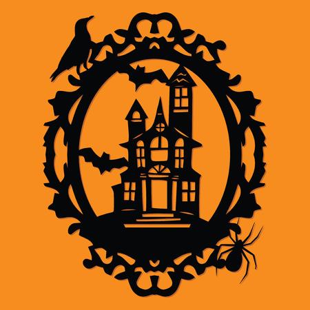 Eine Vektorillustration eines Papierschnittschattenbild-Halloween-gespenstischen Herrenhausvieh verzierten Rahmens.