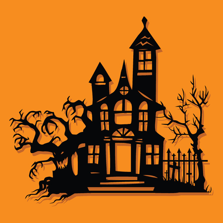 A vector illustration of a paper cut silhouette halloween spook manor mansion.  イラスト・ベクター素材