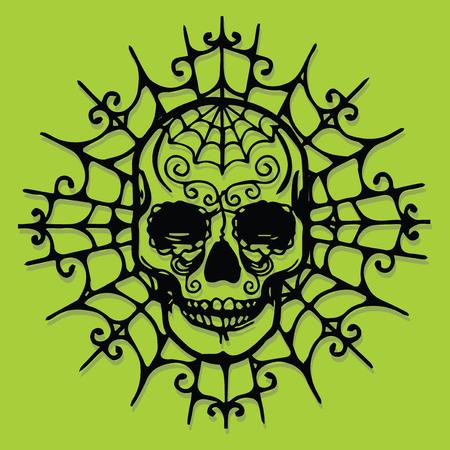Een vectorillustratie van een papier gesneden silhouet halloween schedel in web.