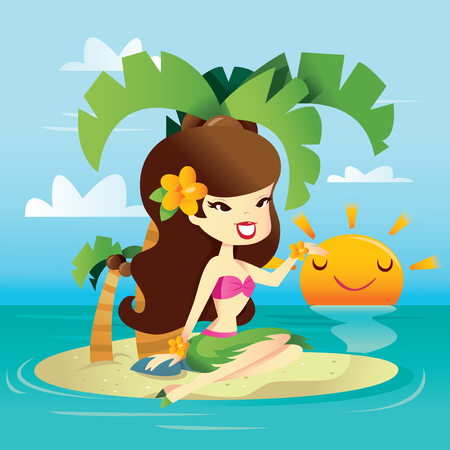A cartoon vector illustration of a happy hawaiian retro pin up girl on a sunny tropical island. Illustration