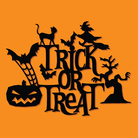 A vector illustration of a paper cut silhouette halloween trick or trick decoration. The halloween banner is made of witch, pumpkin, bats, cats and lettering. 版權商用圖片 - 111945669