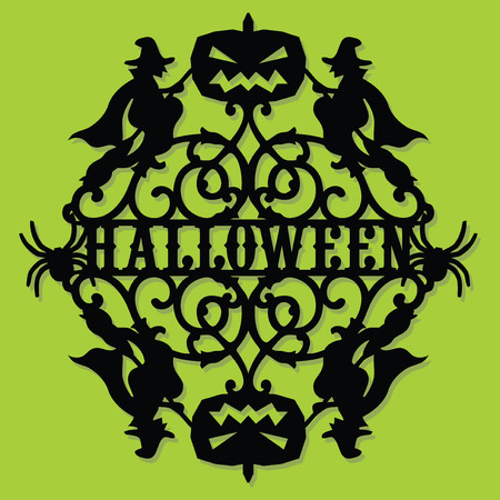 A vector illustration of a paper cut silhouette halloween party invitation banner. The halloween banner is made of pumpkin, witches and halloween phrase.