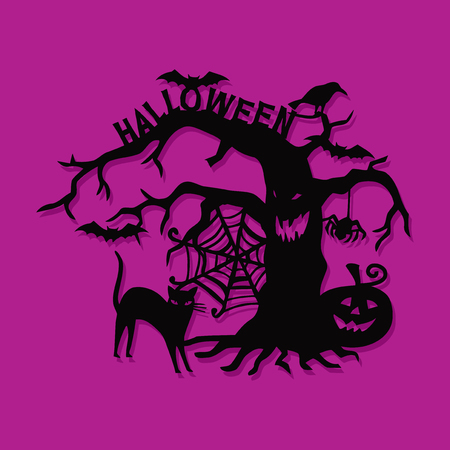 A vector illustration of a paper cut silhouette halloween spooky tree tree.