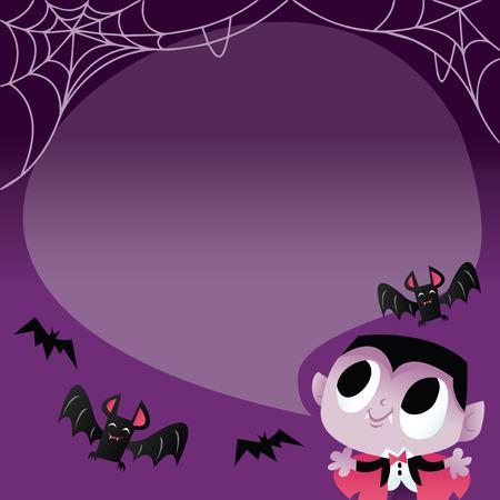 Eine Vektorillustration eines super niedlichen Halloween-Vampirs mit Fledermäusen und Spinnennetz. Es gibt auch eine Sprechblase für den Kopierbereich.