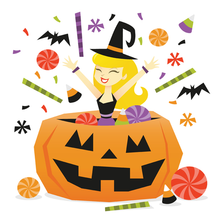 A vector illustration of a happy cartoon woman jumping out of a big halloween pumpkin filled with candies and sweets.