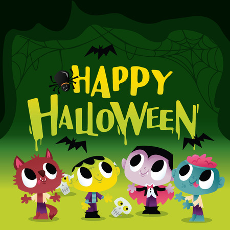 A vector illustration of a bunch of super cute halloween monsters and ghouls with happy halloween text. Different monsters like vampire, werewolf and zombie inside a spooky cave filled with bats and spider web. Illustration