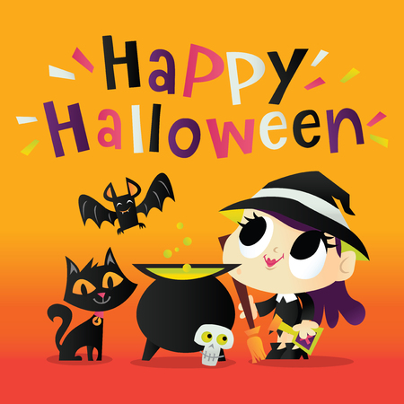 Illustration of a super cute witch holding a broom in front of a magic cauldron, black cat and a bat with fun happy halloween phrase.