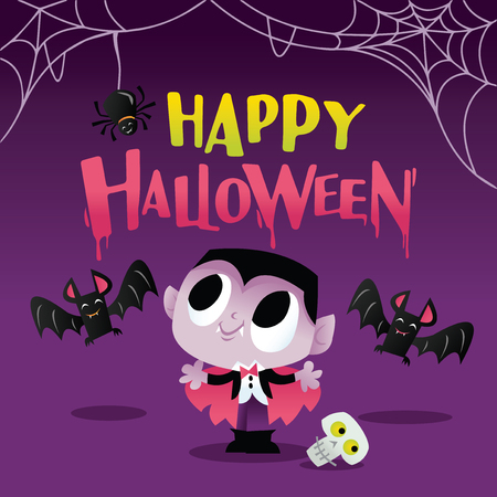 Illustration of a super cute happy halloween vampire with bats and spider web.