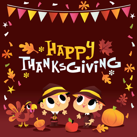 A cartoon vector illustration of boy and girl dressed up as pilgrims in thanksgiving party setting.