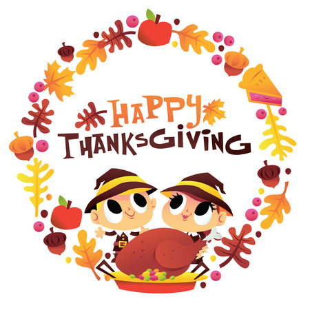 Illustration of a super cute happy thanksgiving pilgrim boy and girl wreath.