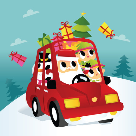 A cartoon vector illustration of a super cute christmas santa with his elves and snowman friends on a car trip with gifts flying out of the car. Illustration