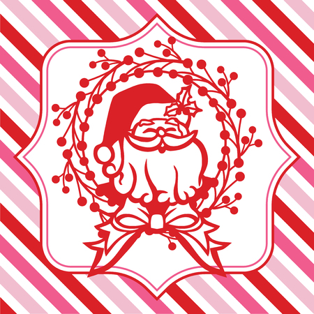 A vector illustration of christmas santa claus wreath on a fancy frame against a colorful christmas theme pink and red stripe background.