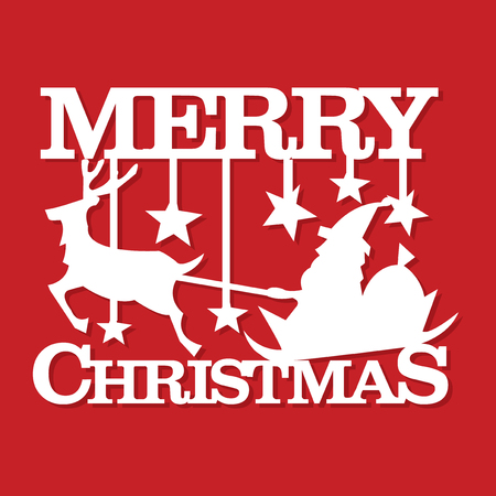 A vector illustration of a merry christmas santa scene paper cut.