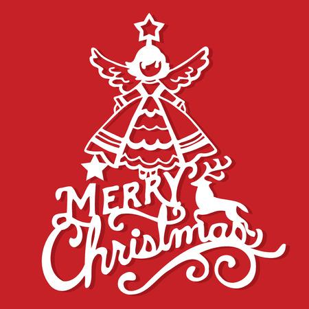 A vector illustration of a vintage merry christmas angel decoration paper cut. Standard-Bild - 127345713