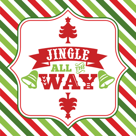 A vector illustration of christmas word art with jingle all the way sayings phrase on a fancy frame against a colorful christmas theme green and red stripe background. Illustration