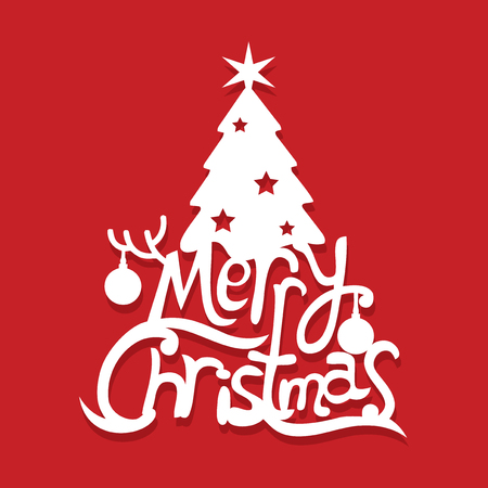 Illustration of  a merry christmas tree lettering paper cut.