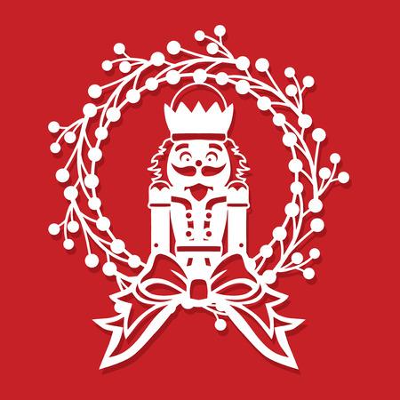 Una ilustración vectorial de una corona de acebo de Navidad vintage corte de papel de soldado cascanueces vintage.