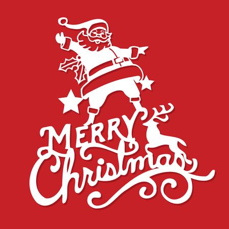 A vector illustration of a vintage merry christmas santa decoration paper cut.