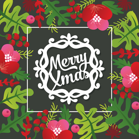 A vector illustration of merry christmas phrase inside flower and leaves filled frame.