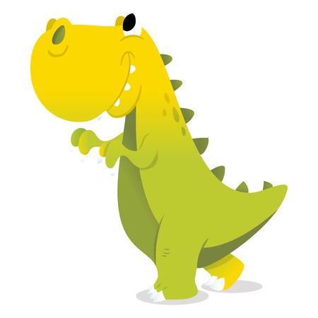 A cartoon vector illustration of a happy green t-rex dinosaur.