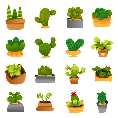 A cartoon vector illustration of 16 cute cactuses and succulents plants in pots.