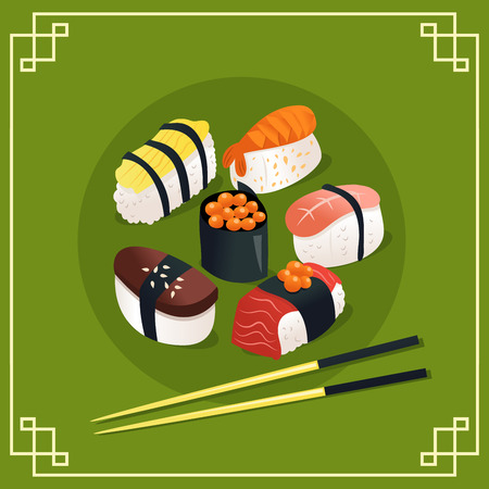 A cartoon vector illustration of sushi and sashimi on green asian or japanese background.