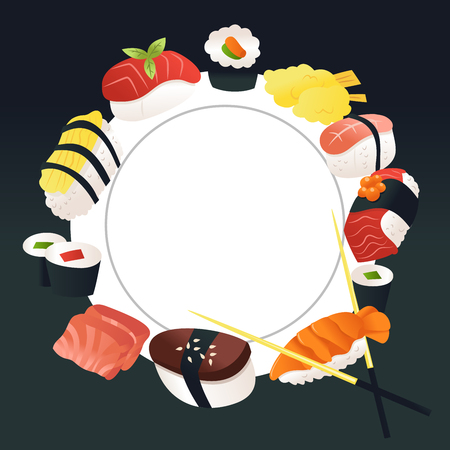 A cartoon vector illustration of sushi and sashimi around a white plate copy space background.