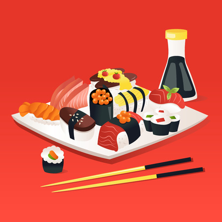 A cartoon vector illustration of sushi and sashimi on a plate with soy sauce and chopstick with a red background.
