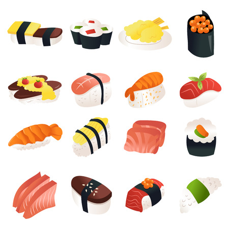 A cartoon vector illustration of 16 various sushi and sashimi japanese dishes.