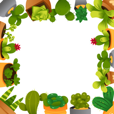 A cartoon vector illustration of a copy space frame background surrounded by cactuses and succulents in pots.