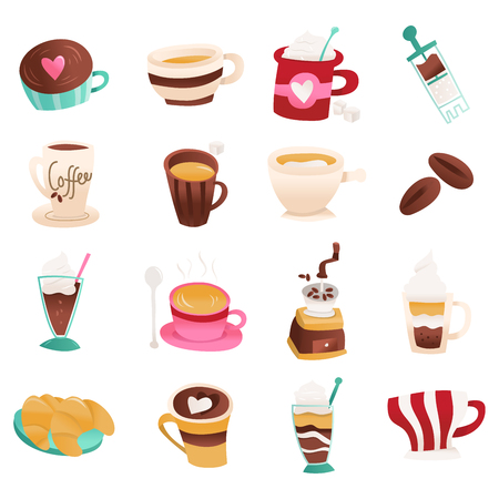 A cartoon vector illustration of 16 cute coffee cafe icon set.