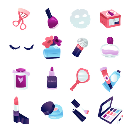 A cartoon vector illustration of 16 various beauty cosmetic makeup icon set like mirror, lipstick, brushes, nail polish and more.