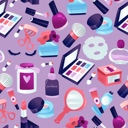 A vector illustration of beauty cosmetic makeup seamless pattern on light purple based background. Standard-Bild - 134643918